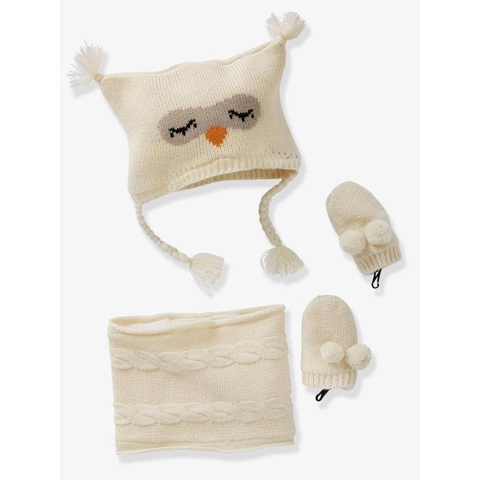 Ensemble bonnet + moufles + tour de cou chouette bébé fille Vertbaudet   La  Redoute 4829f246112