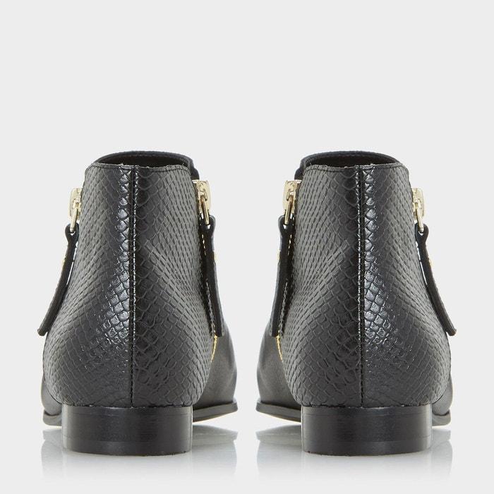 Bottines pixie à zip latéral - panders noir cuir Dune London