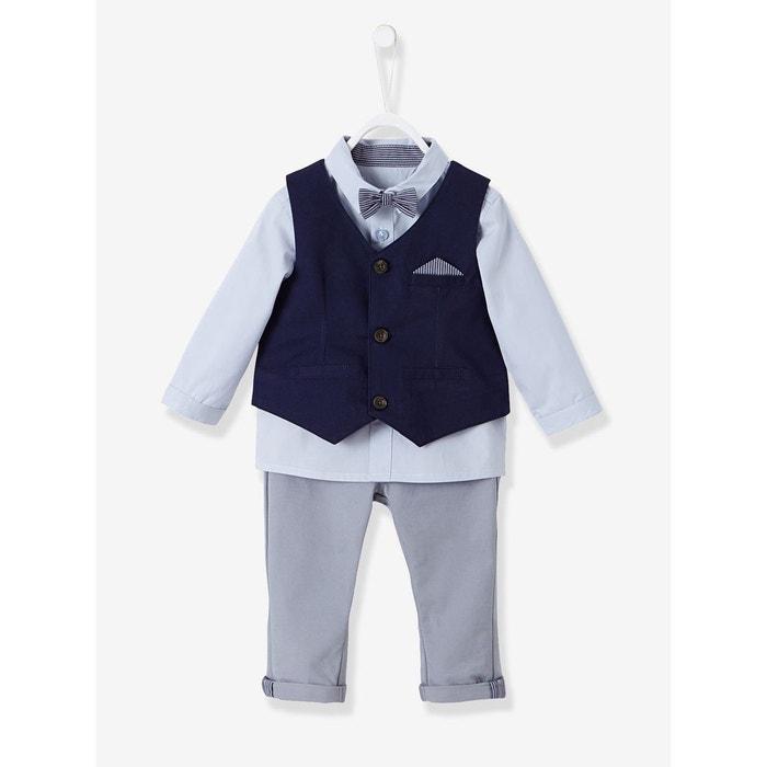 109632fb6d884 Ensemble bébé garçon cérémonie gilet + chemise + noeud papillon + pantalon  VERTBAUDET ...