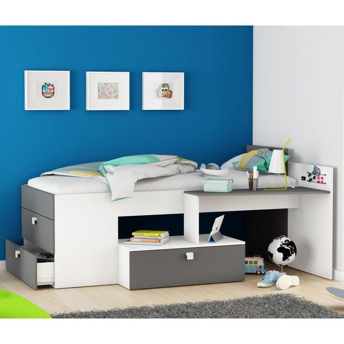 lit enfant combin 90x200 blanc gris blanc terre de nuit. Black Bedroom Furniture Sets. Home Design Ideas