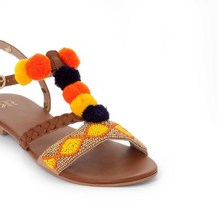 détail Collections cuir Sandales Redoute multicolore pompons La 5OwSqw