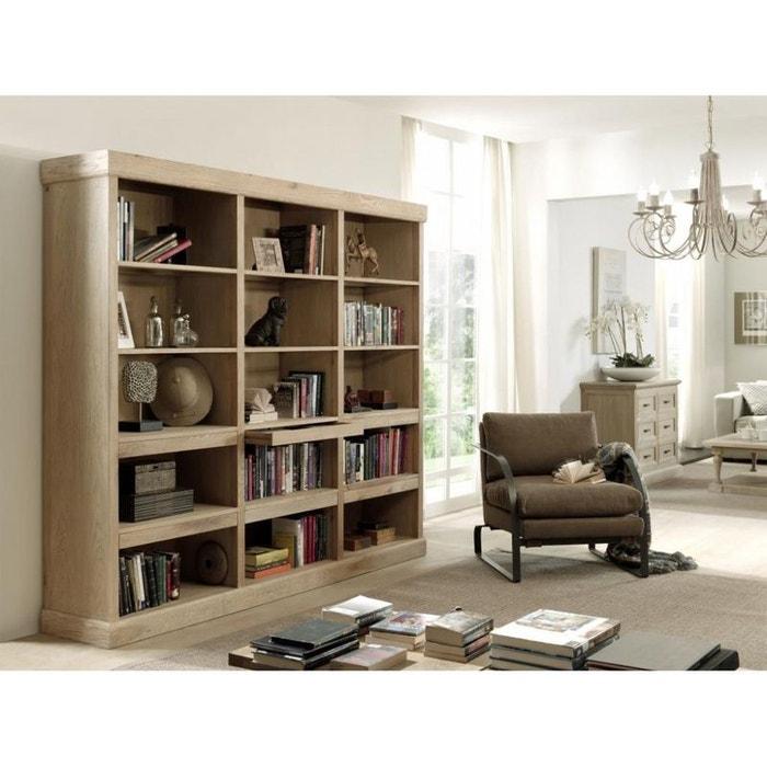 biblioth que classique chic ch ne massif 240x50x200cm. Black Bedroom Furniture Sets. Home Design Ideas