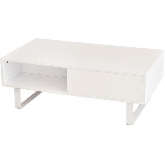 Table basse blanche avec plateau relevable minseo blanc - Table basse blanche plateau relevable ...