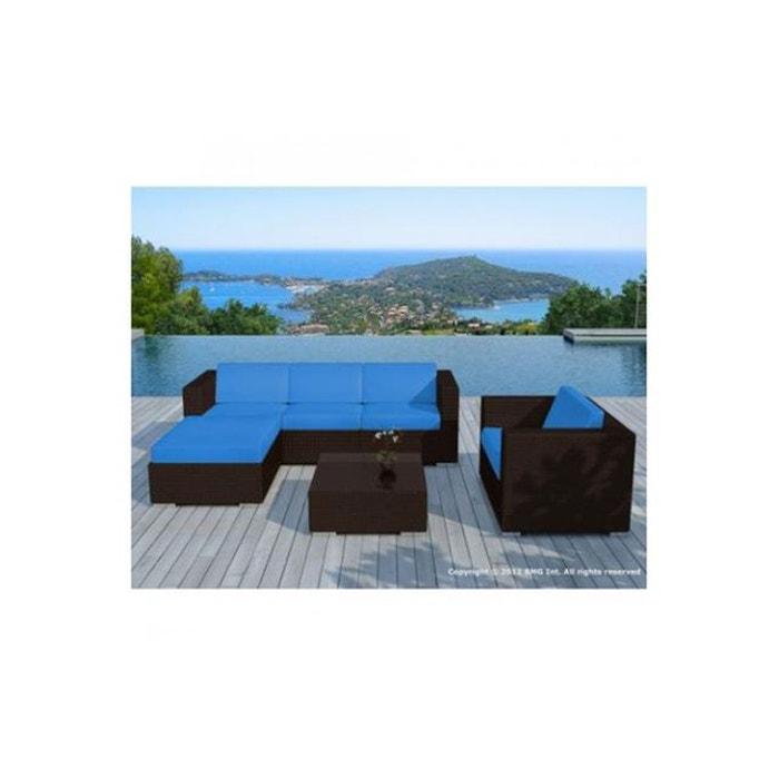 Salon de jardin en résine tressée chocolat et blanc lagon blanc ...