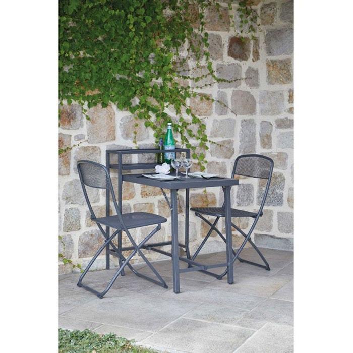Salon de jardin pliable sp cial petit espace anthracite home maison la redoute - Jardin petit espace ...