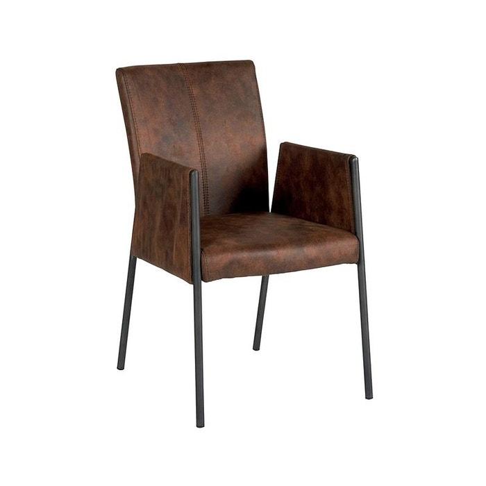 chaise fauteuil avec accoudoirs tissu microfibres havane et pieds m tal noir 52x65x86cm pier. Black Bedroom Furniture Sets. Home Design Ideas