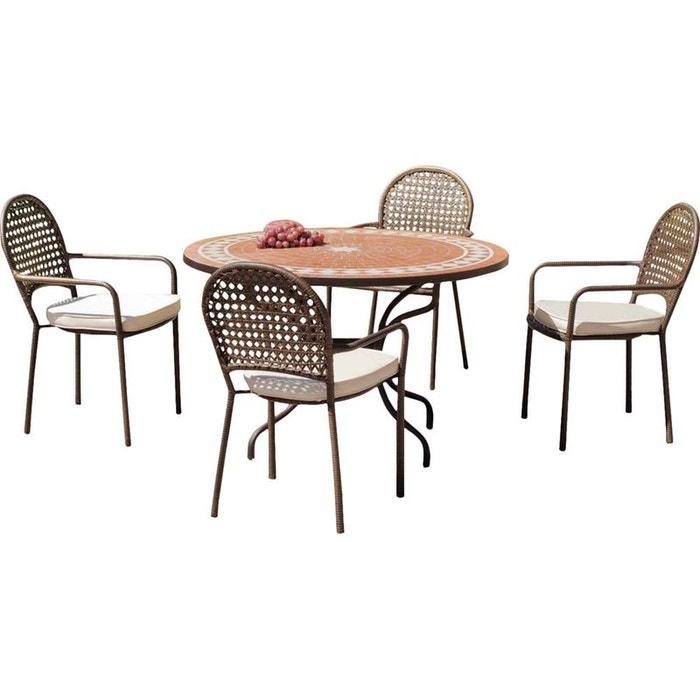 Salon de jardin table ronde et fauteuils 4 places ecru alba (housses ...