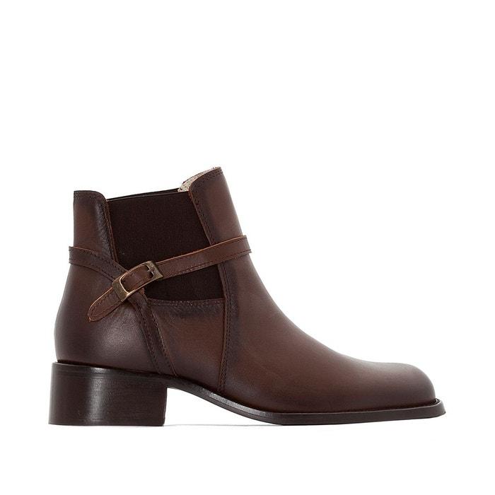 Boots cuir, talon moyen, élastiqués côtés Anne Weyburn
