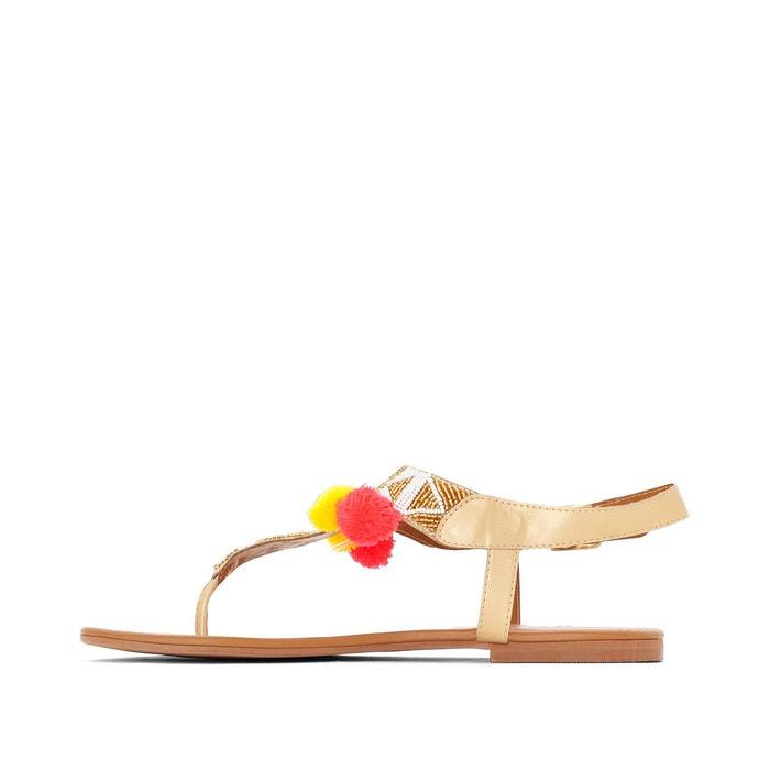 Sandales métallisés et pompons pied large 38-45 Castaluna