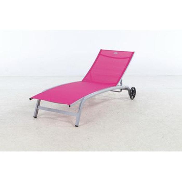 transat chaise longue 4 positions nagua avec roues framboise framboise hesperide la redoute. Black Bedroom Furniture Sets. Home Design Ideas