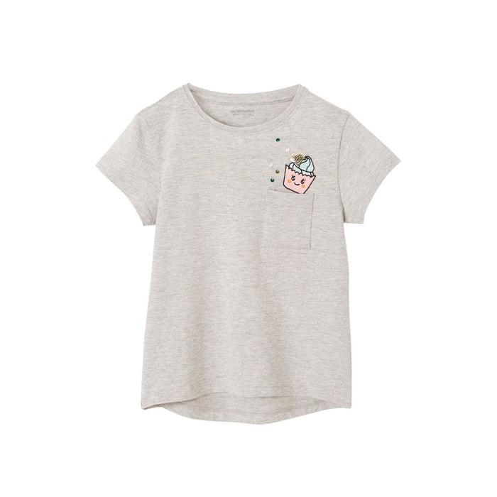 2c1413dba3282 T-shirt fille motif cupcake en sequins gris clair Vertbaudet