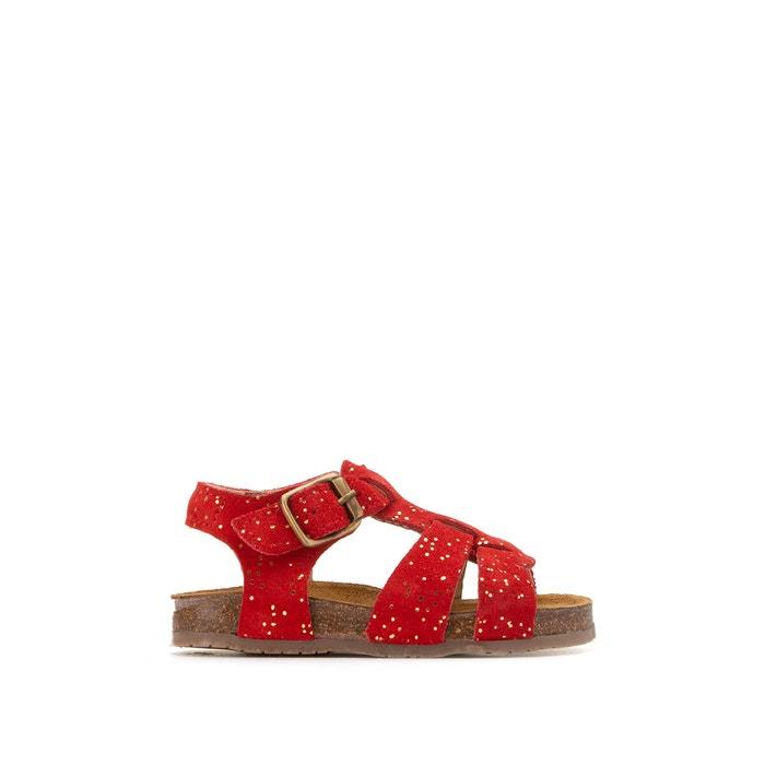 Kids leather sandals coral La Redoute