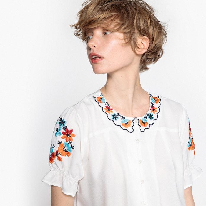 bordado con R Peter Pan cuello Camisa MADEMOISELLE n0Yw1qSq