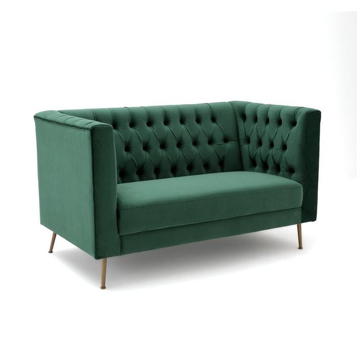 canap 2 places en velours capitonn panone vert bouteille. Black Bedroom Furniture Sets. Home Design Ideas