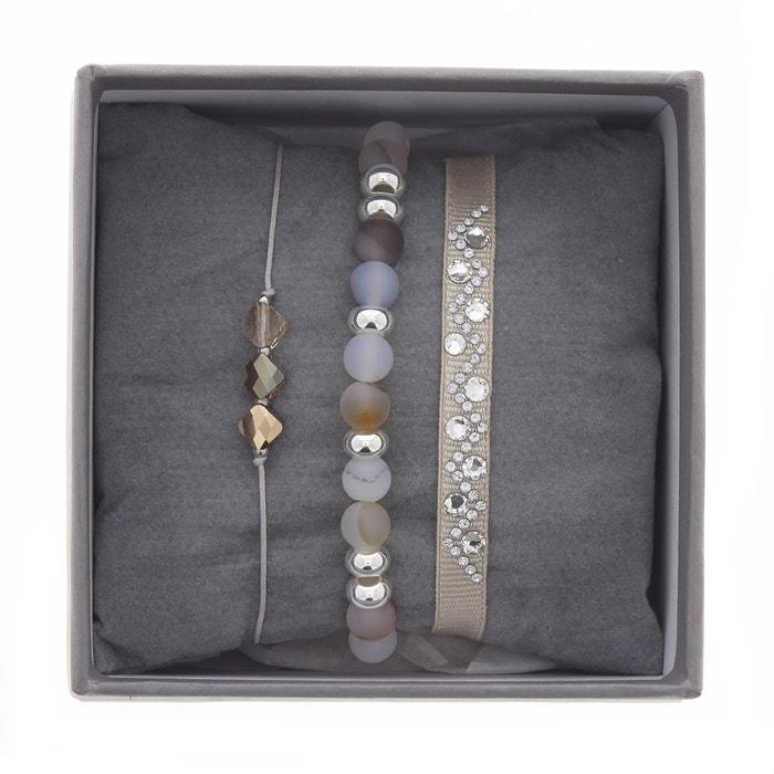 Coffret les interchangeables, bracelets en satin blanc, cristal blan et agate blanc Les Interchangeables | La Redoute