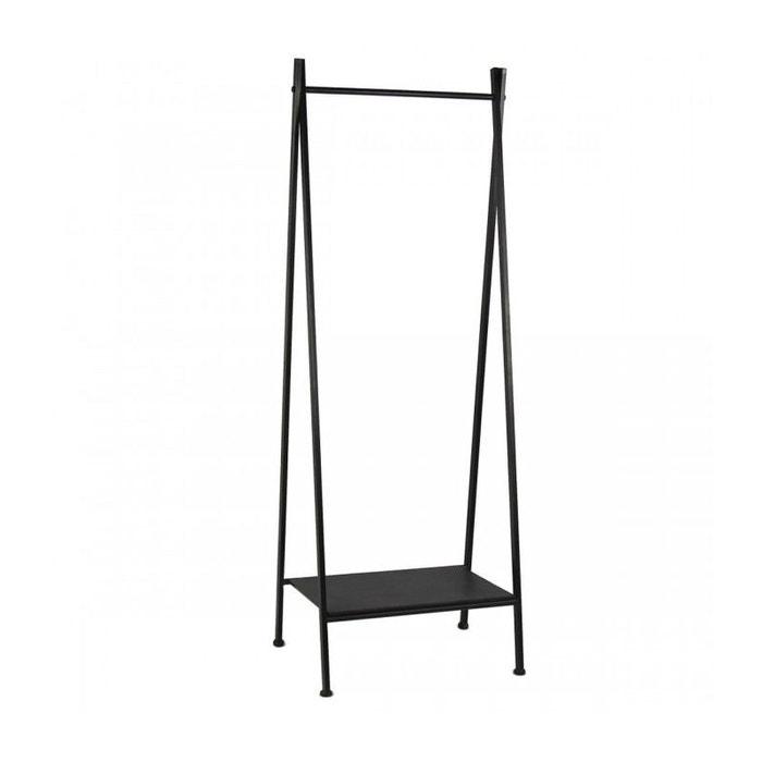 Portant Vêtements En Métal Noir Avec étagère Rack Zen Noir Wadiga - Portant à vêtements