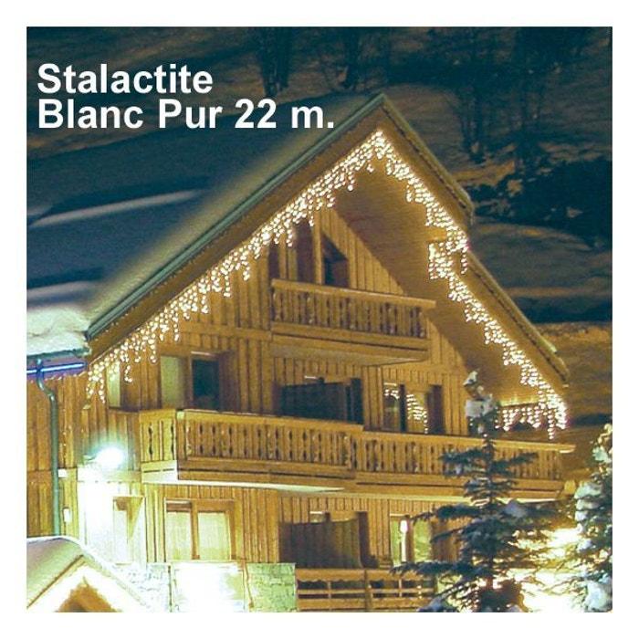 Guirlande lumineuse stalactite blanc pur 22 m blanc for Millumine