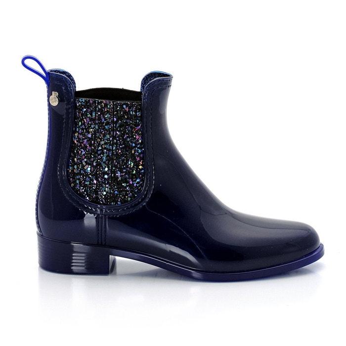 Boots Sardenha, PVC aspect verni, coloris indigo