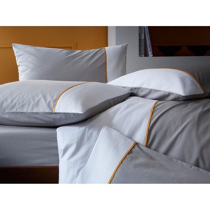 taie d 39 oreiller rectangulaire bicolore percale 80 fils cm parement blanc et biais safran. Black Bedroom Furniture Sets. Home Design Ideas