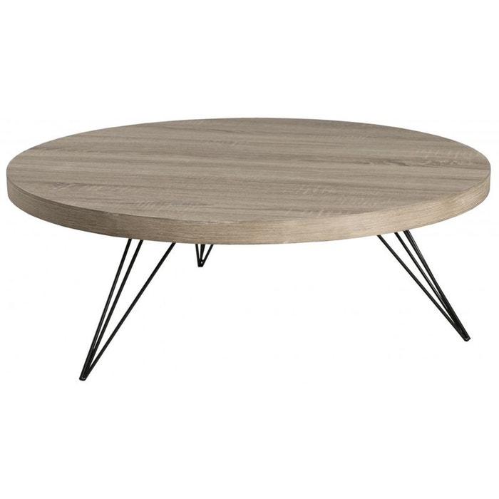 Table basse ronde bois pieds m tal landaise bois pier import la redoute - Table ronde la redoute ...