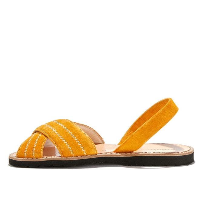 Sandales plates cuir de vache avarca berlin safran Minorquines