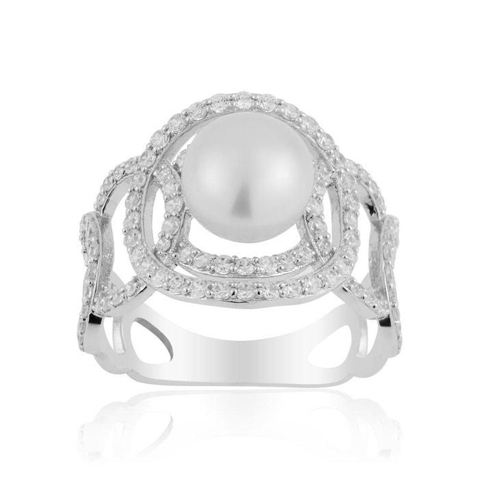 Bague argent 925/1000 perle blanc Cleor   La Redoute Prix Le Plus Bas Rabais Vente À La Mode Prix Le Plus Bas En Ligne EVbaFo