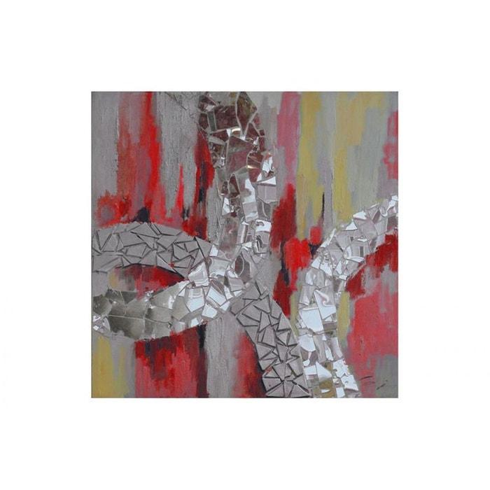 Tableau abstrait rouge jaune bandes effet miroirs 80x80cm rouge ...