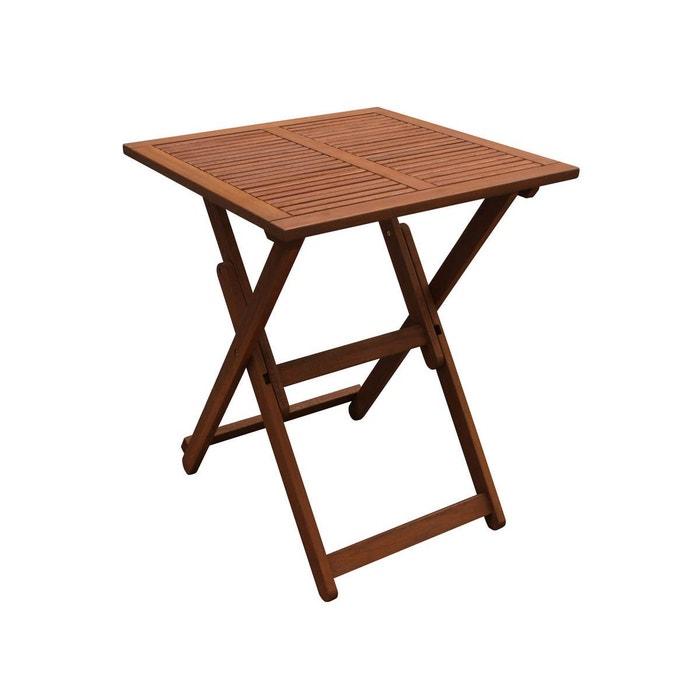 Table carée pliante 60 x 60 x 74 - marron clair Habitat Et Jardin ...