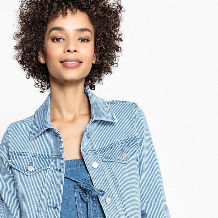 Veste en jean cintrée rayée La Redoute Collections
