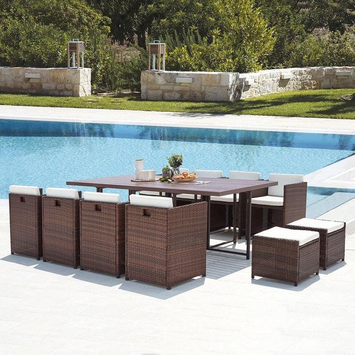 Salon de jardin résine tressée alu, 12 places, Sunset 12