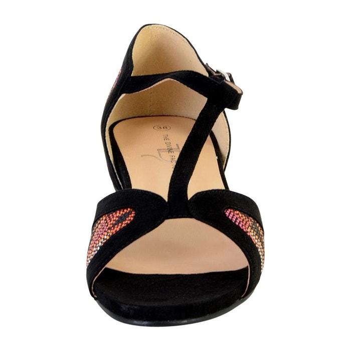 Sandale plate noir The Divine Factory