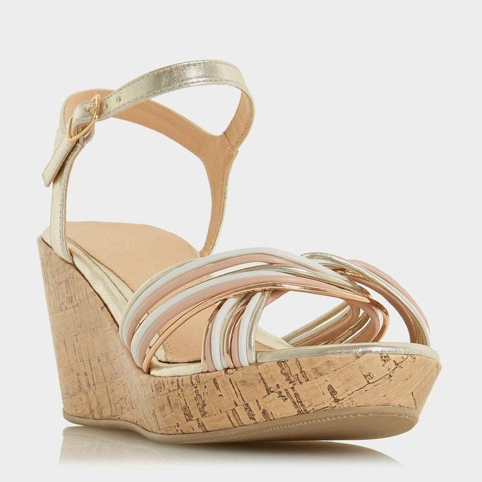 Sandales compensées en deux parties à brides croisées - kellis doré synthétique Head Over Heels By Dune