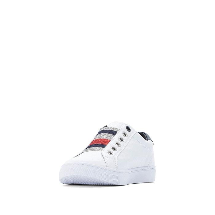 0bf11fe75c17 Baskets cuir elastic essential sneaker Tommy Hilfiger blanc