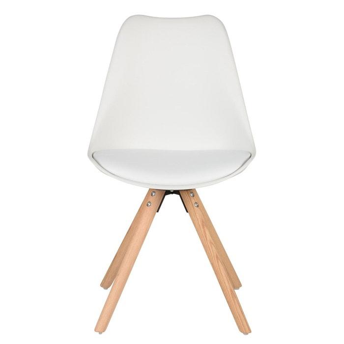 Chaise scandinave à coque piétement chêne Cross