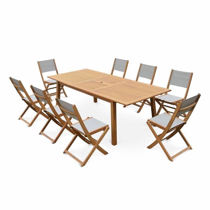 Salon de jardin en bois Almeria, grande table 180-240cm rectangulaire 8  chaises eucalyptus FSC et textilène gris taupe