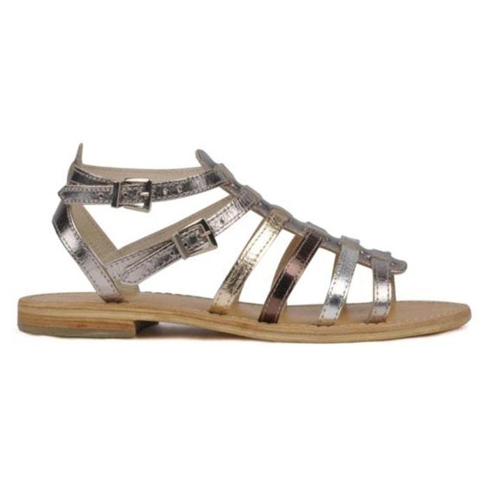 Sandales spartiates plates, cuir, hic argent - multicolore Les Tropeziennes Par M Belarbi