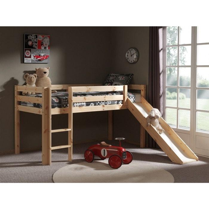 lit mezzanine naturel avec toboggan bois naturel terre de nuit la redoute. Black Bedroom Furniture Sets. Home Design Ideas