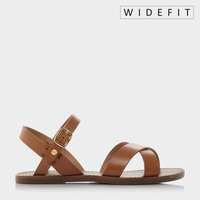 Sandales plates à empeigne croisée - w laila fauve cuir Dune London