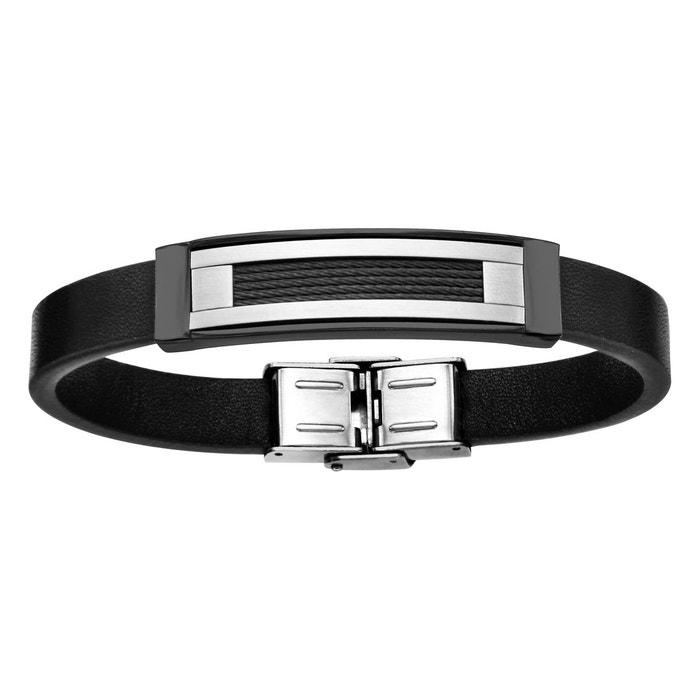 Bracelet 20,5 cm longueur réglable cuir noir plaque câbles noir acier inoxydable couleur unique So Chic Bijoux | La Redoute