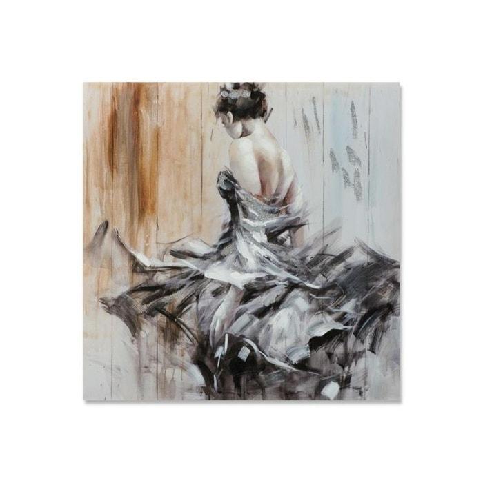 danse 100x100 peinture acrylique carr e noir beige avec effet paillet couleur unique pier. Black Bedroom Furniture Sets. Home Design Ideas