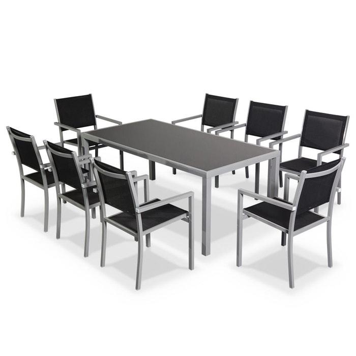 Salon de jardin capua en aluminium table 180cm, 8 fauteuils en ...