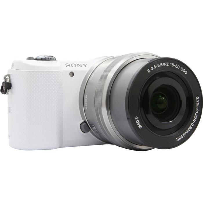 appareil photo hybride sony a5000 blanc 16 50mm argent couleur unique sony la redoute. Black Bedroom Furniture Sets. Home Design Ideas