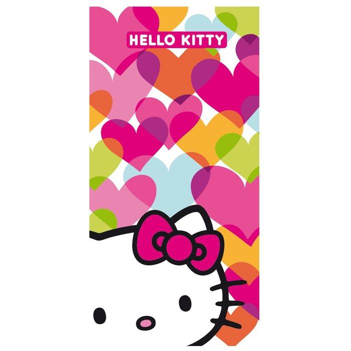 Drap De Plage Blanc 075x150 Cm Hello Kitty 100 Coton Blanc Hello