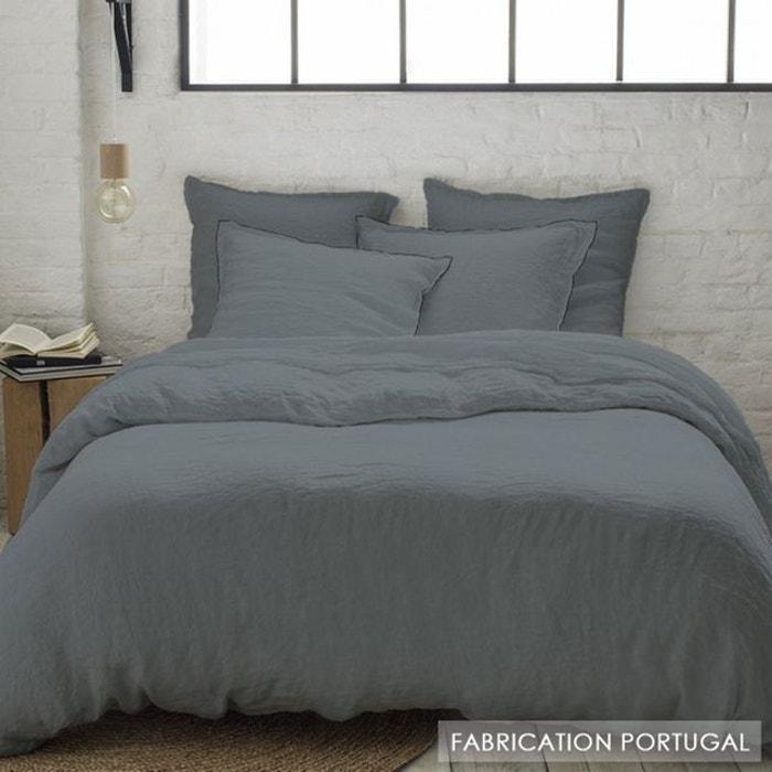 taie d 39 oreiller lin lav carbone bourdon noir carr 64x64 lin carbone gris selene et gaia la. Black Bedroom Furniture Sets. Home Design Ideas