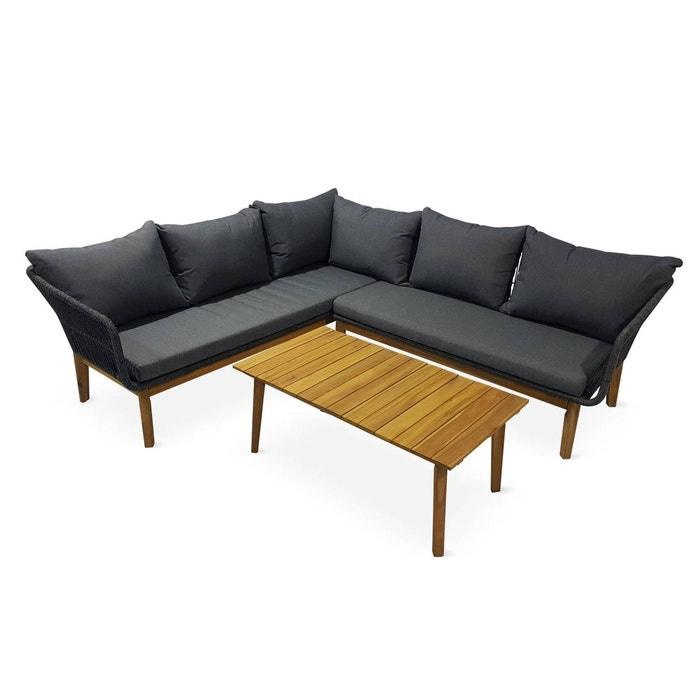 Salon de jardin en angle 5 places - SALVADOR- en corde tressée et bois,  noir, coussins gris