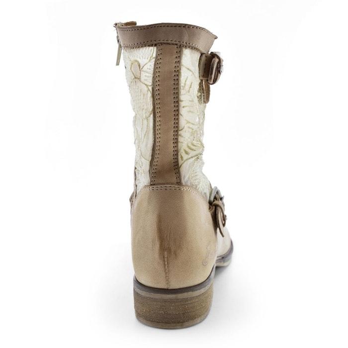 Boots cuir mika beige Bunker