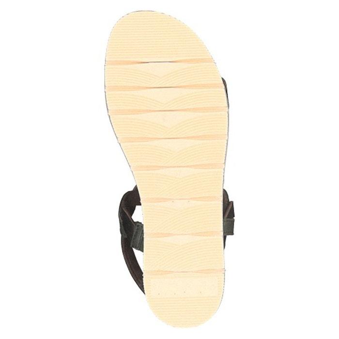 Sandales plates cuir pub vert Tamaris