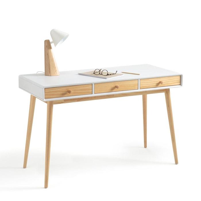 bureau 3 tiroirs jimi blanc bois la redoute interieurs. Black Bedroom Furniture Sets. Home Design Ideas