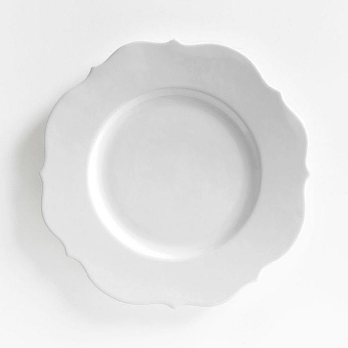 assiette plate fa ence lot de 4 manoir blanc la redoute interieurs la redoute. Black Bedroom Furniture Sets. Home Design Ideas