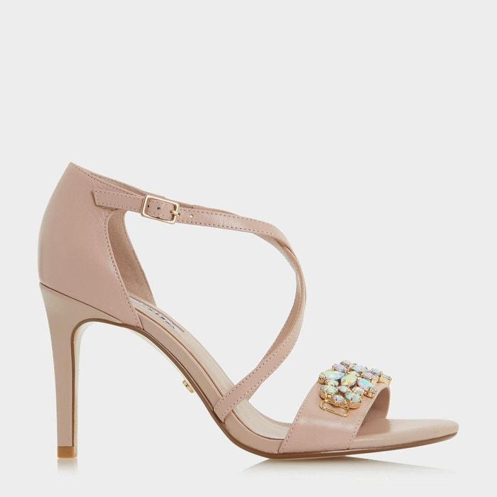 Sandales ornées de bijoux fantaisie à talons hauts et brides croisées - marcela Dune London